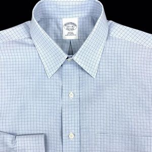 Brooks Brothers Mens Blue Check Button Front Slim
